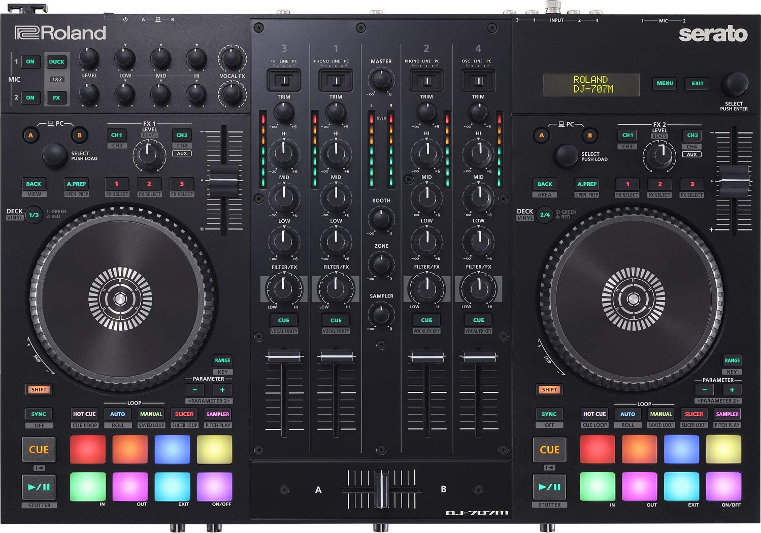 outlet Roland DJ-707M Four-Channel Four-Deck Controller DJ Translated Serato
