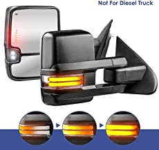 MOSTPLUS Power Heated Towing Mirrors for Chevy Silverado GMC Serria 2014-2018 w/Sequential Turn light, Clearance Lamp, Running Light(Set of 2) Not for diesel truck (Black)
