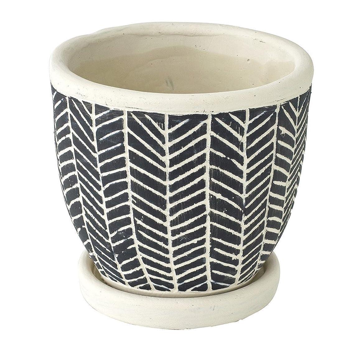 永久に整然とした勘違いするSPICE OF LIFE 植木鉢 レリーフプランター ヘリンボーン ブラック 直径12.5×12cm セメント 底穴あり 皿付き CCGH1810BK