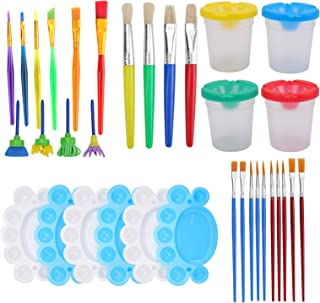 Suwimut Painting Tool Kit, 34 Pieces No Spill Paint Cups Set with Lids, Palette Tray and Multi Sizes Paint Brushes Set for...