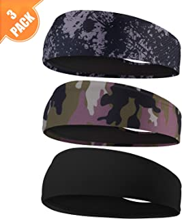 EasYoung Headbands for Men, 6/3/2 Pack Sweat Bands Headbands Men's Sport Cooling Headbands for Running, Crossfit, Working Out and Performance Stretch Guys Hairbands.