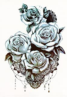 CQHUI Waterdichte Tijdelijke Tattoo Sticker Lotus Rose Pattern Water Transfer onder Borst Schouder Bloem Body Art Nep (Col...