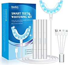 Bestidy Teeth Whitening Kit with 16x LED Light, Professional Teeth Whitener System Set Without Sensitive, Includes 3 Smart Teeth Whitening Pens, Effectively Whitens in 10 Minutes (white)