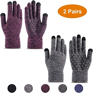 Okay Sports Winter Warm Knit Gloves Men & Women Touchscreen Texting Thermal Thick Linning Anti-Slip Silicone Gel Stretchy Running Driving Cycling Gloves