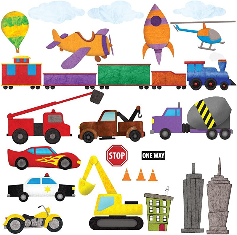 My Wonderful Walls Car Wall Stickers Train Wall Decals Airplane Wall Decals Peel Stick Construction Stickers For Kids And Nursery Wall Art