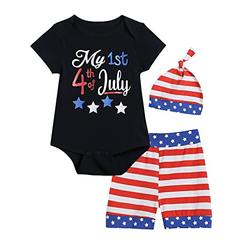 ea1de2e95eda12 Baby Boys Girls Clothes My First 4th of July Short Sleeve Bodysuit American  Flag Shorts with