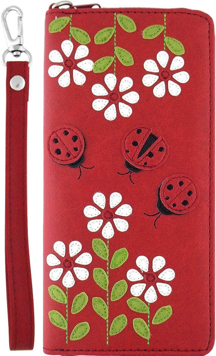 LAVISHY Ladybug & Daisy Flower Applique Vegan/Faux Leather Large Wristlet Wallet