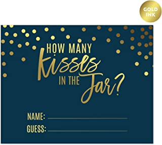 Andaz Press Navy Blue and Metallic Gold Confetti Polka Dots Bachelorette Party Bridal Shower Collection, How Many Kisses are in The Jar Game Cards, 30-Pack