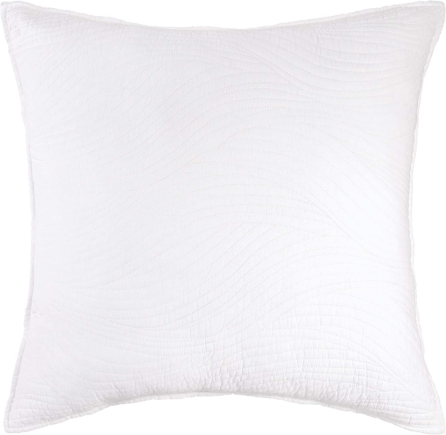 quality assurance CF Home Tranquil Now free shipping Waves White Solid Cotton Euro Sham All-Season