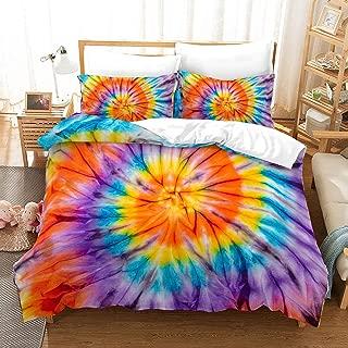 Orange Tie Dye Bedding Boho Tie Dyed Duvet Cover Set Orange Black Psychedelic Swirl Pattern Hippie Bedding Sets Queen 1 Duvet Cover 2 Pillowcases (Colorful 1, Queen)