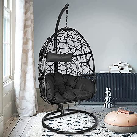 Action Club Egg Chair with Stand Indoor Outdoor Patio Wicker Hanging Swing Chair with UV Resistant Tufted Cushion Hammock Porch Chaise Lounge Chair Steel Frame (Dark Gray)