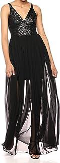 فستان المرأة السكان LORI SEQUIN AND CHIFON FIT & FLARE SLEEVELESS Dress