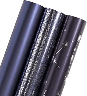 WRAPAHOLIC Gift Wrapping Paper Roll - Navy and Silver Constellation/Line/Solid Color for Birthday, Holiday, Father's Day, Baby Shower Gift Wrap - 3 Rolls - 30 inch X 120 inch Per Roll