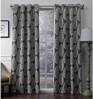 CA 2 Piece Black Pearl Medallion Window Curtain Set, 108 Inch White Damask Mandala Floral Design Sateen Twill Woven Panels Pair, Blackout Energy Efficient Window Treatment Drapes Grommet, Polyester