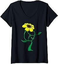 Womens Hippie Flower Peace Sign 60's 70's Love Retro Gift V-Neck T-Shirt