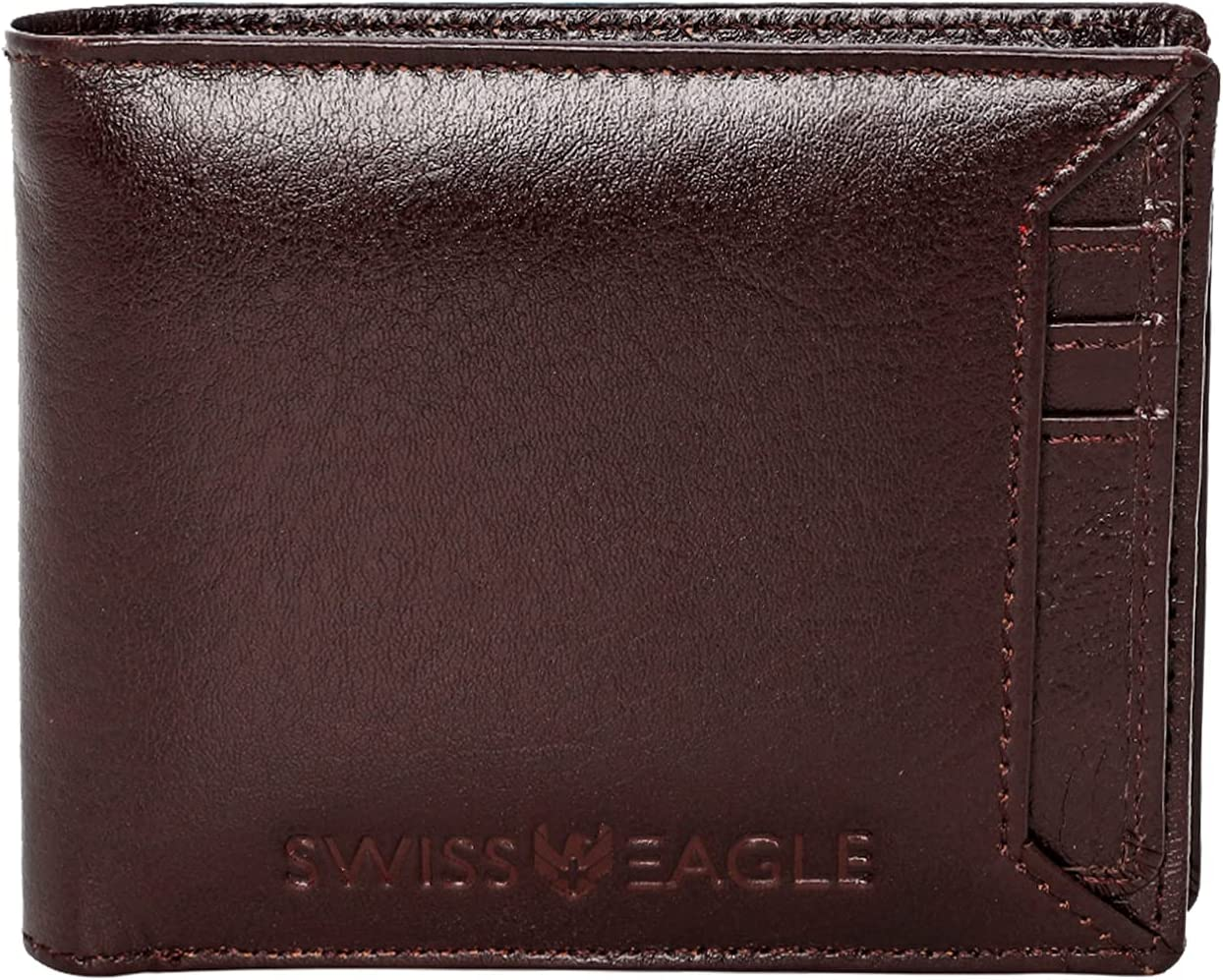 Swiss Eagle Minimalist Leather Wallet for Men - RFID Protection Bifold with 9 Card Slot and ID Window