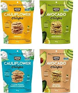 Hippie Snacks Cauliflower Crisps, Plant-based, High Protein, Gluten Free Snack, Crackers for Charcuterie Boards, 2.5oz, Va...