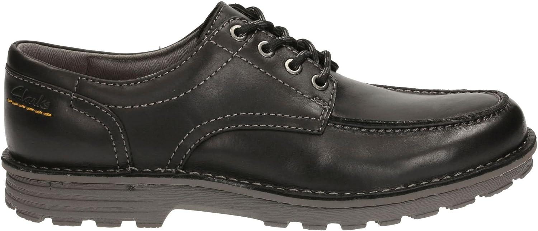 Clarks Men's Lace-Up Derby Gait Mapping shoes Sawtel Ridge Black Leather