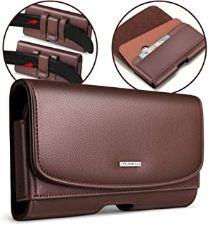 nuoku for iPhone Xs Max Holster iPhone XR Belt Pouch Clip Holster with ID Card for Apple iPhone Xs Max/XR iPhone8Plus 7Plus 6/6sPlus Galaxy Note9 Note8 with Other Case On(Max 6.5''Brown)