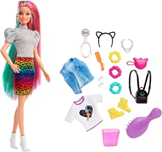 Barbie GRN81 - Lalka o włosach lamparta (blondynka) z efektem zmiany koloru, 16 akcesoriów, wiek 3+