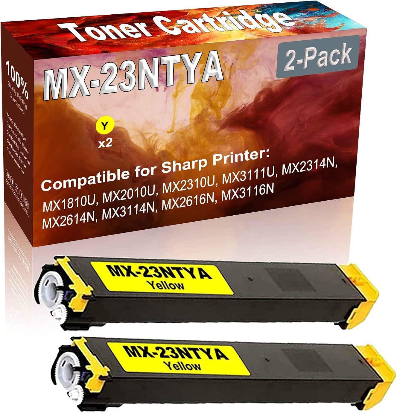 2-Pack (Yellow) Compatible MX1810U MX2010U MX2310U Laser Toner Cartridge (High Capacity) Replacement for Sharp MX-23NTYA Printer Toner Cartridge