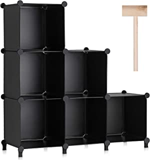 Puroma Cube Storage Organizer 6-Cube Bookshelf Plastic Square DIY Closet Cabinet Organizer Shelving for Home, Office, Bedr...