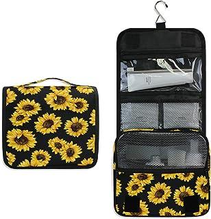 MAHU Toiletry Bag Summer Sunflower Pattern Print Wash Bag Hanging Hook Multifunction Cosmetic Bag Portable Travel Makeup O...