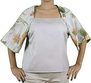 Generico Sara GHIAIE-Camicia con Scollo Quadrato-Donna-Made in Italy-Interamente Fatta a Mano
