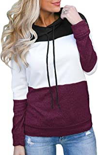 Women's Pullover Long Sleeve Fall Hoodies Color Block Tunics Loose Casual Sweatshirts