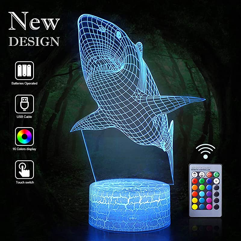 Shark Night Lights 3D Vision Effect LED Light Remote Control Wall Lamps For Birthday Xmas Holiday Party As Home Bedroom Decor Art Deco For Kids Child Teen Friends Adults Shark Remote