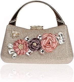 NSHUN Evening Clutch Bag for Women Floral Evening Bags Crossbody Shoulder Handbags Flower Wedding Clutch Purse, Bride Floral Clutch Bag