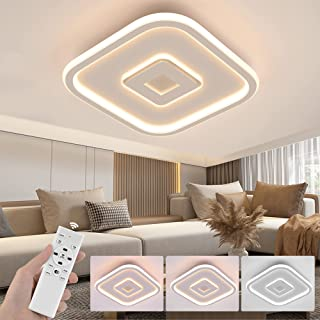 Wayrank LED Plafonnier Dimmable, Lampe de Lustre Led Moderne avec 3 couleurs, Éclairage de Plafond avec Télécommande pour ...