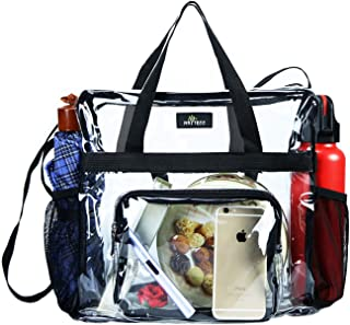 Maytreebags Clear Tote Bag Stadium Approved,Transparent Tote Bag Stadium Security Travel and Gym Clear Bag, See Through Tote Bag for Work, Sports Games and Concerts-12 x12 x6, Black
