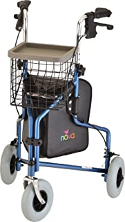 "NOVA Traveler 3 Wheel Rollator Walker, All Terrain 8"" Wheels, Includes Bag, Basket and Tray, Blue"