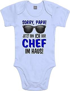 Shirtoo Lustiger Baby Body Strampler witzig Bedruckt mit Sorry Papa! Jetzt Bin ICH der Chef im Haus! - für Jungen und Mädchen als Geschenk zur Geburt/Erstausstattung