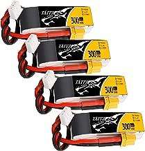 Tattu 4PCS 7.4V 300mAh 2S 45C LiPo Battery Pack with XT30 Plug for Emax Babyhawk Micro FPV Quad Racing Drone