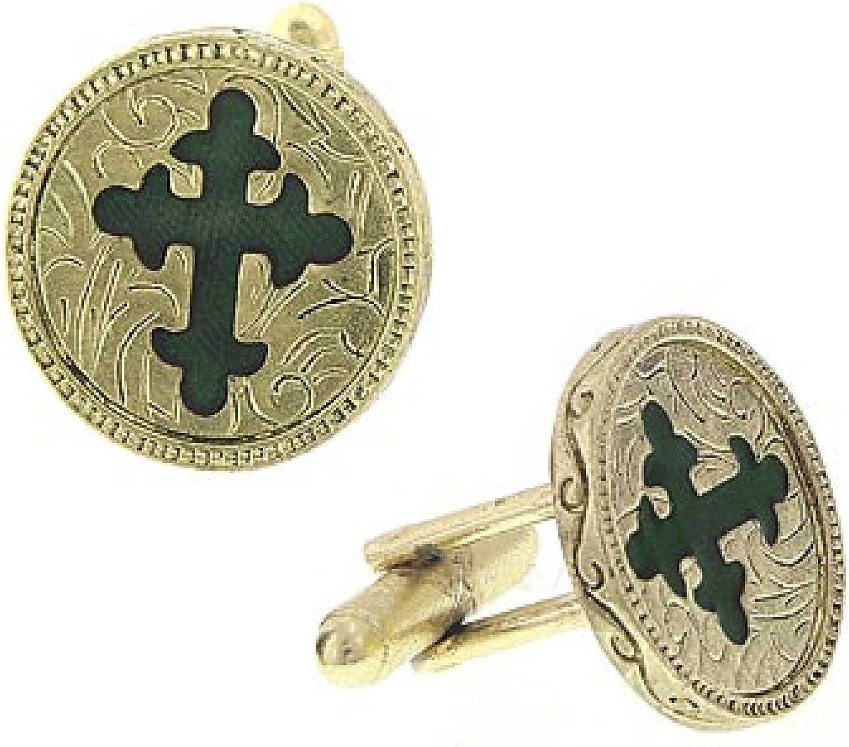 1928 Jewelry Gold-Tone Green Enamel Cross Round Cuff Links