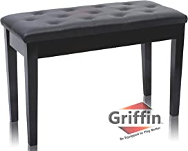 Premium Antique Black Piano Bench By Griffin – Solid Wood Frame & Luxurious, Comfortable Leather Padded Duet Double Seat, Ergonomic Keyboard Stool With Storage Space, Durable & Sturdy, Vintage Design