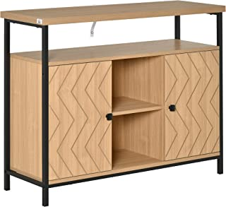 Meuble de rangement buffet style graphique 2 placards porte avec étagère 2 niches étagère grand plateau métal noir MDF asp...