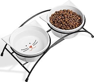 ZNWIYE ペットボウル 猫 食器 フードボウルスタンドセット 猫柄 陶器 えさ入れ ごはん皿 お水入れ かわいい猫耳のデザイン 猫 犬 (小型犬)
