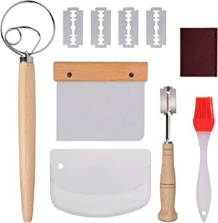 13 Inch Flour Coil Mixer, Kitchen Baking Set, Bread Cutter with Replaceable Blade, Stainless Steel Flour Scraper, Plastic Flour Scraper, Silicone Brush, Bread Making Tools,Bakery