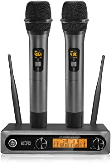 TONOR Wireless Microphone System, Dual Professional UHF Cordless Dynamic Mic Metal Handheld Microphone for Home Karaoke, Meeting, Party, Church, DJ, Wedding, Home KTV Set, 200ft(TW-820)