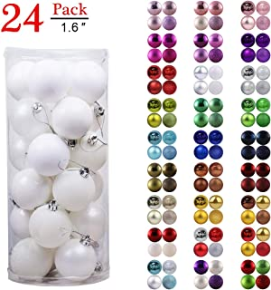 GameXcel Christmas Balls Ornaments for Xmas Tree - Shatterproof Christmas Tree Decorations Perfect Hanging Ball White 1.6