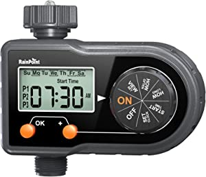 RAINPOINT Sprinkler Timer, Hose Timer Digital Water Timer for Garden Hose, Up to 3 Watering Programs, Week/Day Cycle, Manual/Automatic Irrigation System, for Lawn Yard Pool