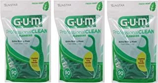 GUM Professional Clean Flossers, Fresh Mint, 90 Ct (Pack of 3)