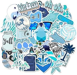 50 Pcs Cute Blue Stickers Water Bottles Laptop Car Hydro Flasks Phone Motorcycle Guitar Skateboard Computer Vinyl Sticker Waterproof Aesthetic Trendy Decals for Teens Boys Girls Adults