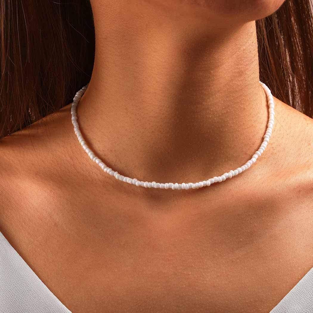 Chicque Boho Beaded Choker Necklace Short Bead Necklace Chain Beach Choker Necklace Jewelry for Women and Girls