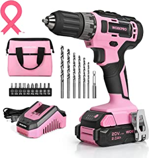 """WORKPRO 20V Pink Cordless Drill Driver Set, 3/8"""" Keyless Chuck, 2.0 Ah Li-ion Battery, 1 Hour Fast Charger and 11-inch Sto..."""