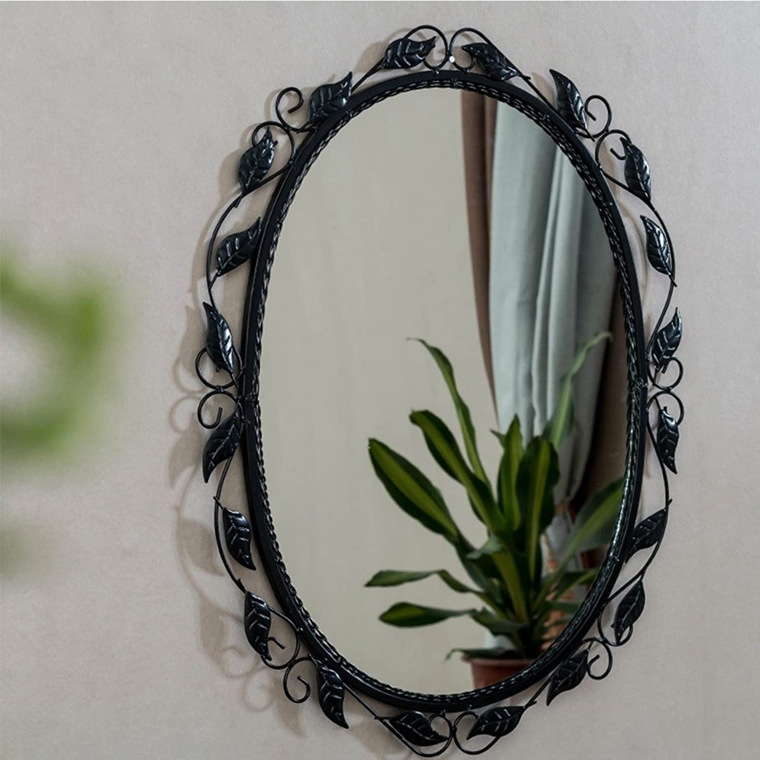 Bathroom Wall Mirror Embedded Oval Wall Mirror greenical Horizontal Vanity Mirror Bedroom Living Room European Wrought Iron Wall Mirror (color   Black)