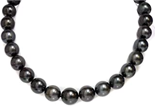 14k Diamond Tahitian South Sea Pearl Necklace 16-13 mm - Natural Midnight Black